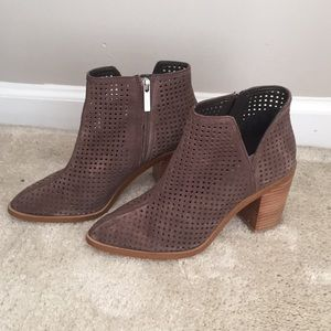 1. State brown suede booties